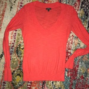 💙3/$21 Express v neck red burnout sweater small